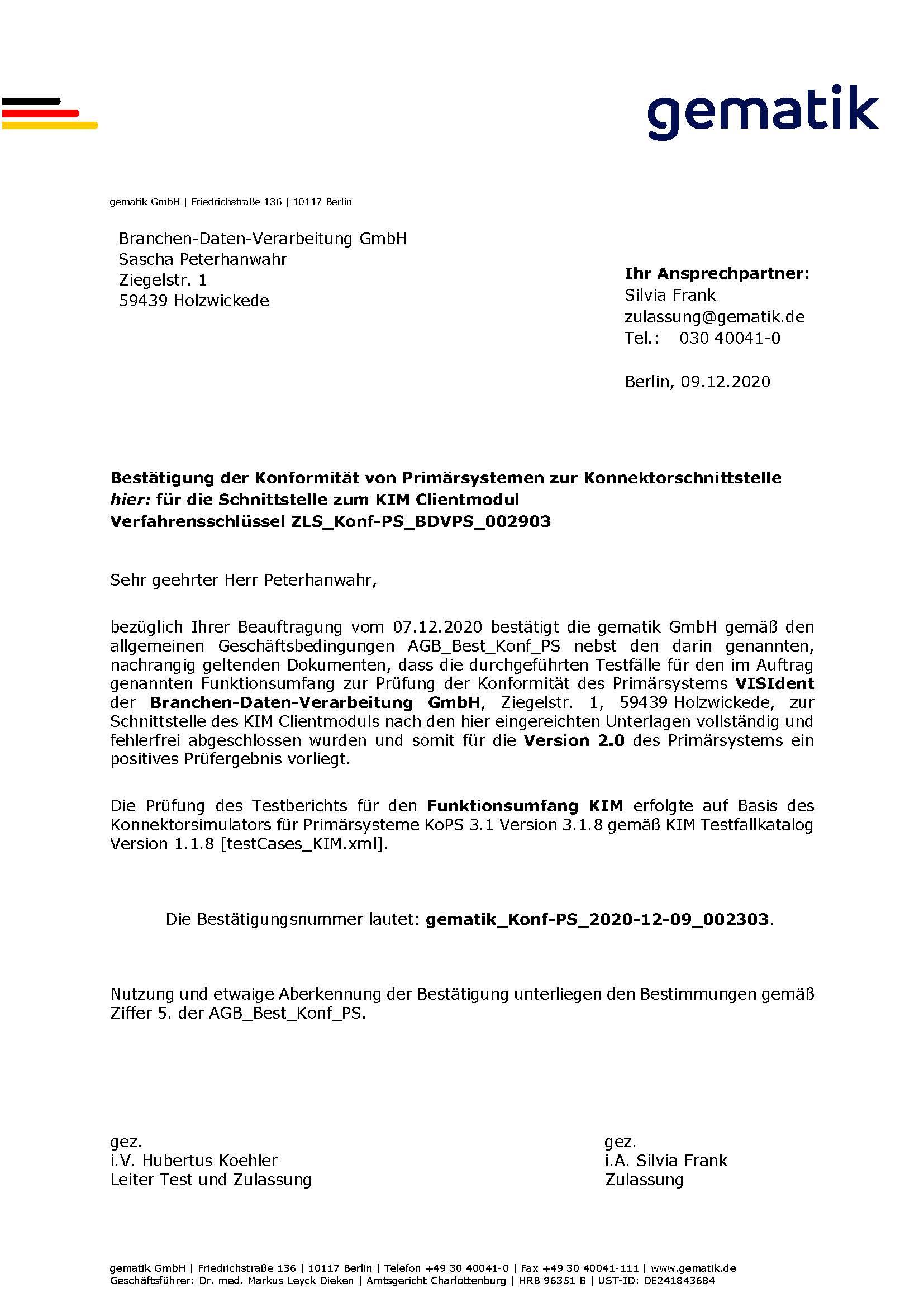 VISIdent KIM-Modul der BDV GmbH - Telematikinfrastruktur - gematik Zulassung