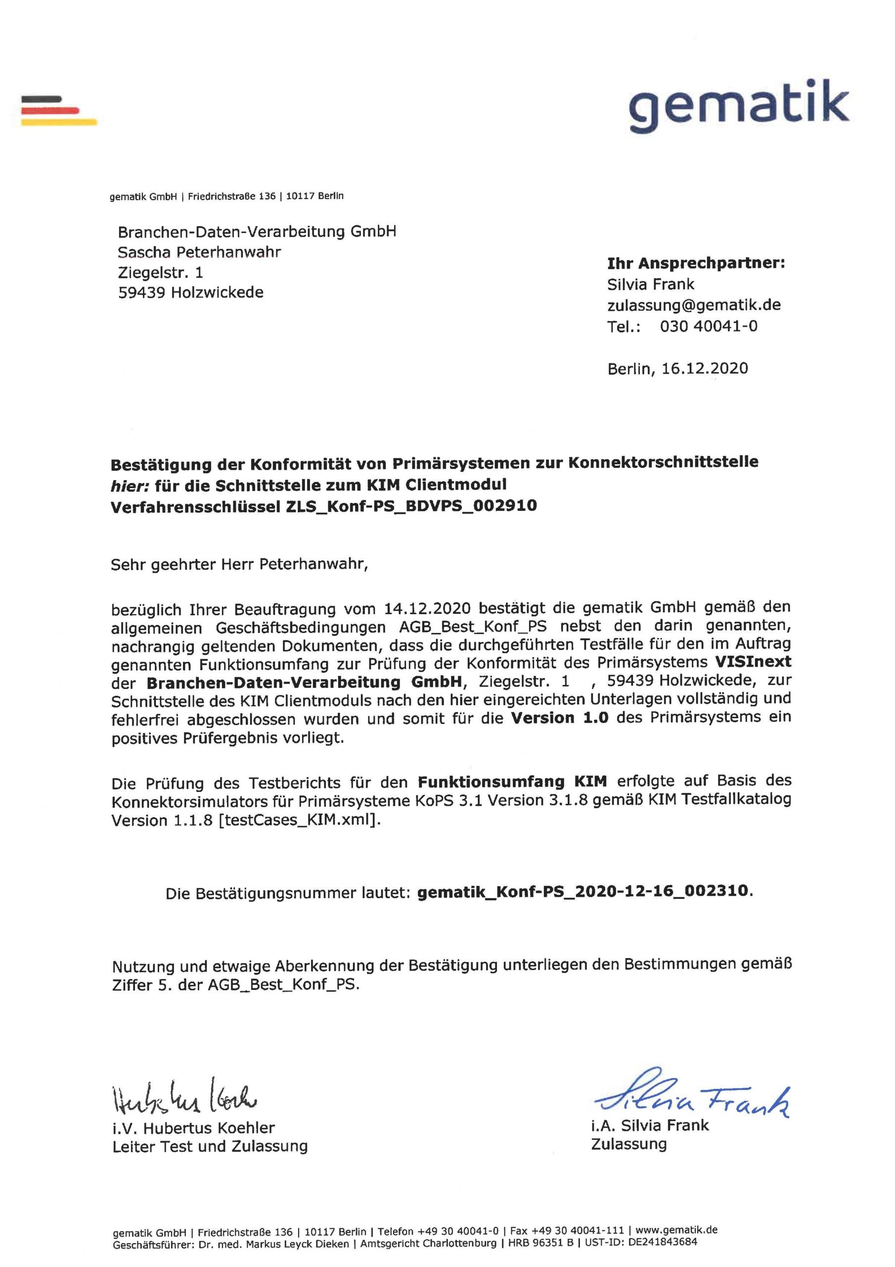 VISInext KIM-Modul der BDV GmbH - Telematikinfrastruktur - gematik Zulassung