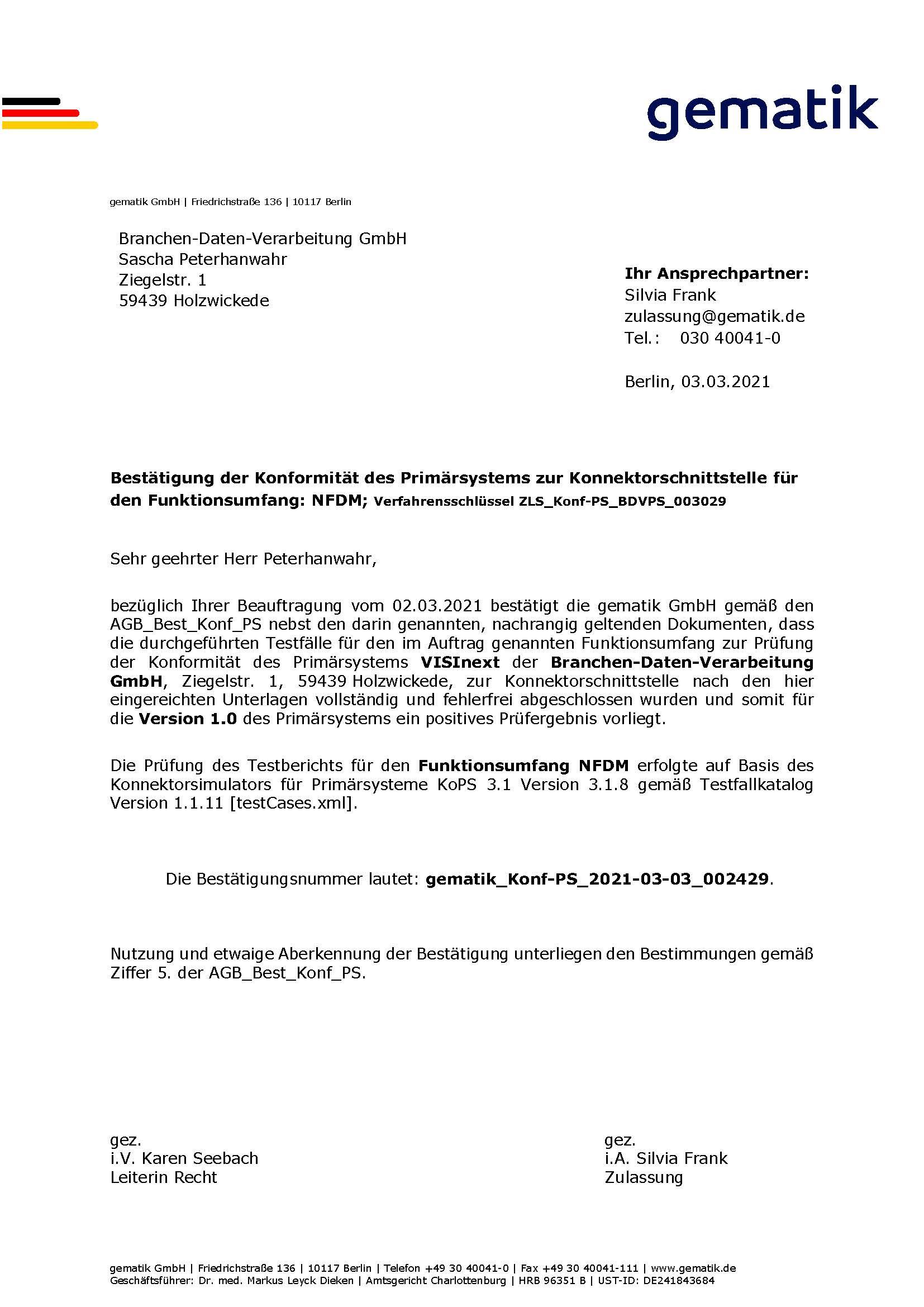 VISInext NFDM-Modul der BDV GmbH - Telematikinfrastruktur - gematik Zulassung